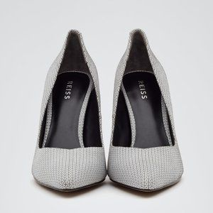 MILLIE GEOMETRIC POINTED TOE GRAY GREY WHITE PUMPS